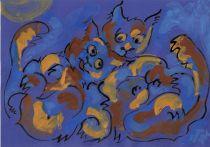 kočky -modré